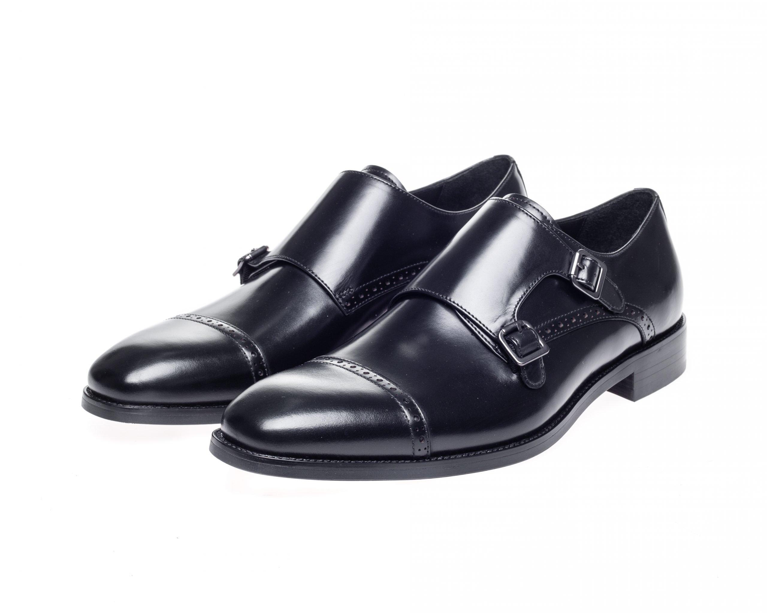 Alderney Black Double Monk Shoes - John